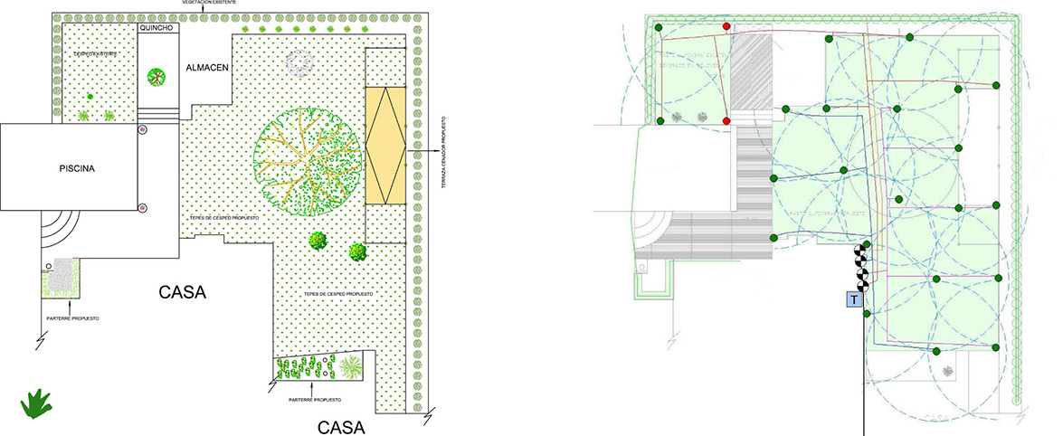 Santiago la reina chile paivert for Instalacion riego automatico jardin